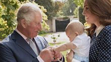 Prince Louis shakes grandpa Princes Charles' hand in adorable new photo