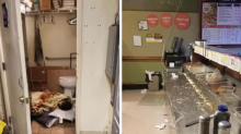 Photos of filthy work station and employee sleeping on bathroom floor force pizza shop to close