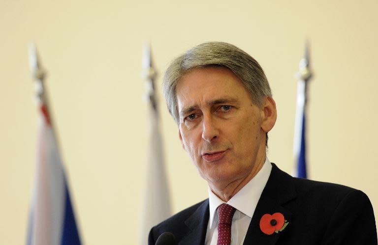 British Foreign Secretary Philip Hammond speaks at press conference in Bratislava, on October 30, 2014