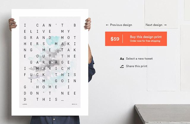 Onehundredforty wants to sell you your tweets as arty posters