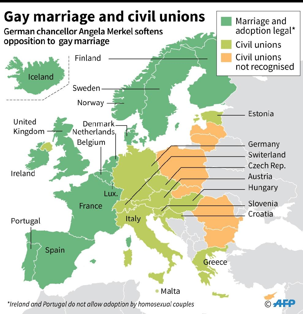 Countries in Europe allowing gay marriage, civil unions and adoption by gay couples as German chancellor Angela Merkel softens opposition to gay marriage. (AFP Photo/Sophie RAMIS, Alain BOMMENEL)
