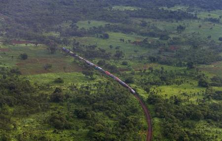 A train is seen from a helicopter in the southern Congolese province of Katanga