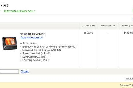 Nokia's N810 Internet Tablet WiMAX Edition in stock for $493