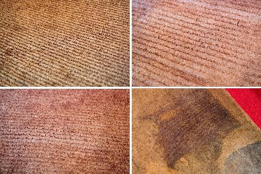 A combination of photos taken in London on February 2, 2015, shows the four surviving original Magna Carta copies from (top row, L-R) Salisbury Cathedral, Lincoln Cathedral and (botttom row L-R) the London Magna Carta and Canterbury Magna Carta (AFP Photo/Leon Neal)