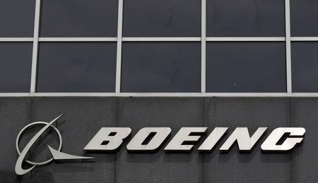 Boeing logo at their headquarters in Chicago