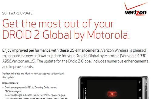 Motorola Droid 2 Global firmware update promises better voice quality, sundry fixes