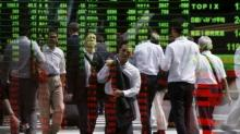 Asia stocks up with dollar, sterling suffers on Brexit day