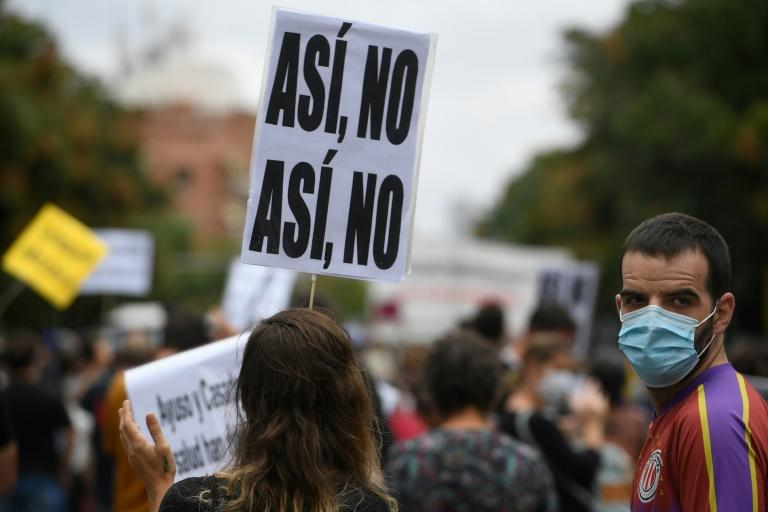 """""""Not like this"""" say demonstrators, aghast at new restrictions which will prevent them from leaving their district other than for essential travel"""