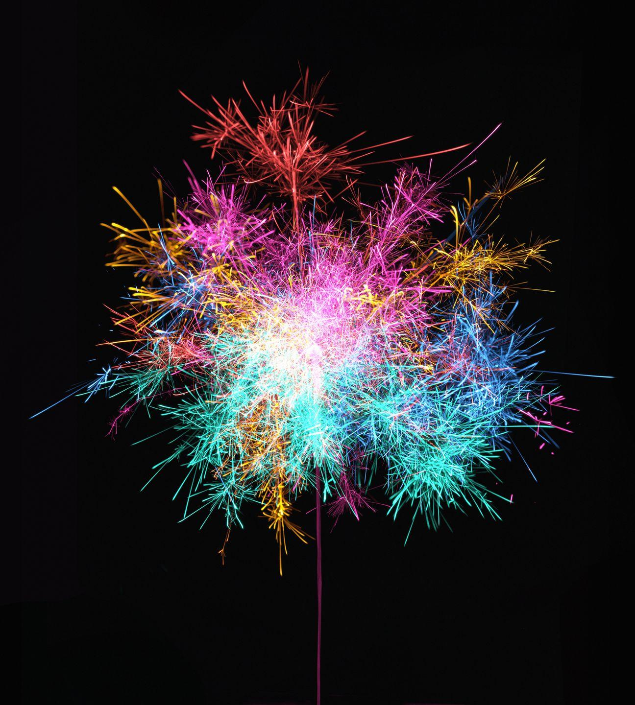 <p>If fireworks were strictly gunpowder, there'd be no excitement, really. They'd all just be balls of fire in the air. </p><p>Salts and other metal compounds allow a firework to detonate in bursts of bright blue or rich red. To make red, fireworks contain strontium salts and/or lithium salts, with the strontium producing a brighter red reaction. Calcium salts make orange, while sodium salts (as in table salt) explode in yellow. Green comes from the compound barium chloride, blue from copper chloride. </p><p>Silver or white colors are made of aluminum or magnesium. If you want purple, you have to work a little harder: Combine strontium salts for red and copper chloride for blue to create a purple explosion.</p>