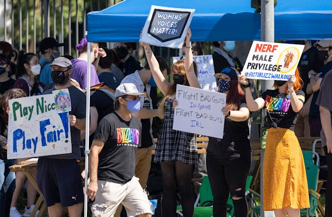 Employees of the video game company, Activision Blizzard, hold a walkout and protest rally to denounce the companys response to a California Department of Fair Employment and Housing lawsuit and to call for changes in conditions for women and other marginalized groups, in , in Irvine, California, on July 28, 2021. (Photo by DAVID MCNEW / AFP) (Photo by DAVID MCNEW/AFP via Getty Images)