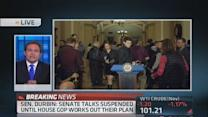 Senate talks suspended while House works on plan