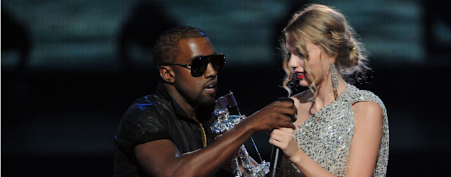 "Kanye West jumped onstage after Taylor Swift won the ""Best Female Video"" award during the 2009 MTV Video Music Awards. (Getty Images)"