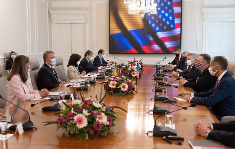 Colombian President Ivan Duque Marquez and U.S. Secretary of State Mike Pompeo meet with the Colombian government cabinet at the presidential house, in Bogota