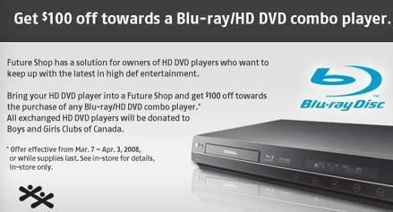 Future Shop offers trade-in credit for HD DVD players, will donate old decks to charity