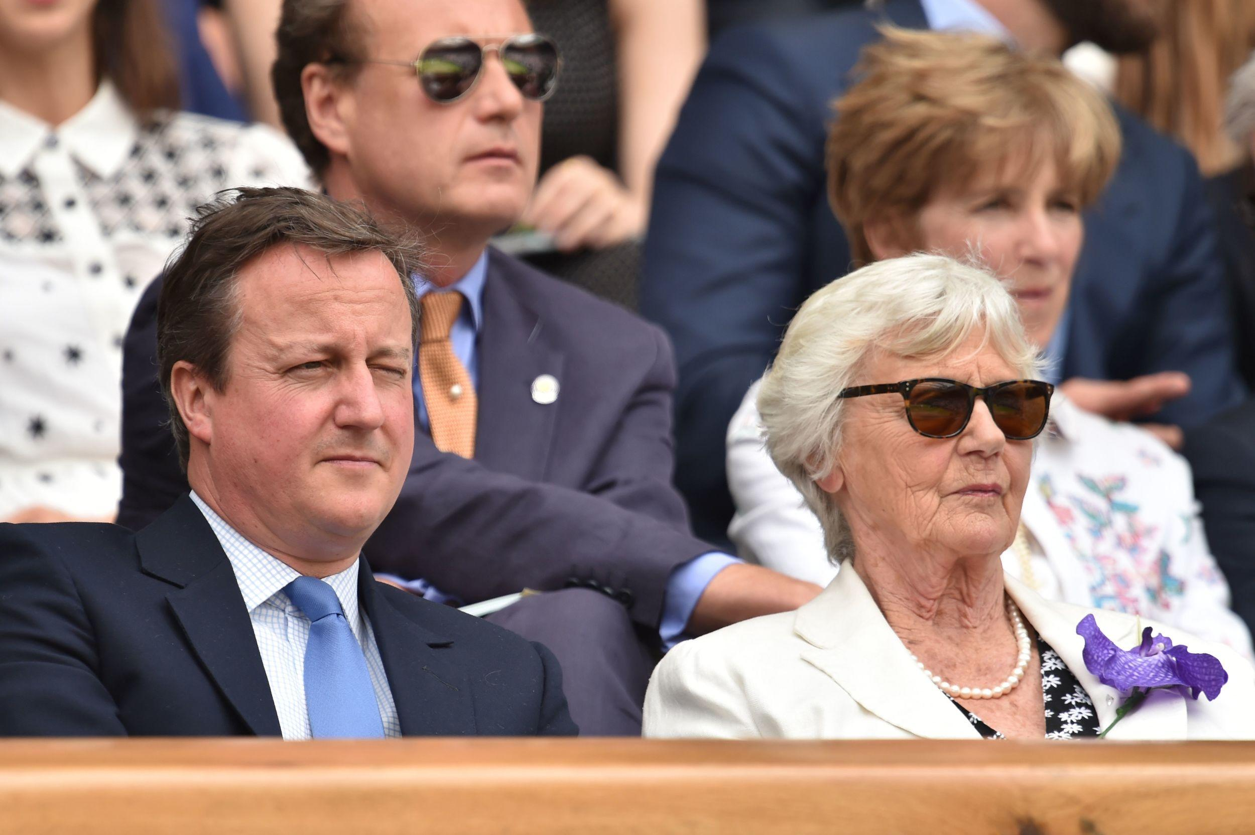 David Cameron sits by his mother Mary Cameron.