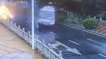 Out-of-control minibus smashes into guardrails and throws driver out in China