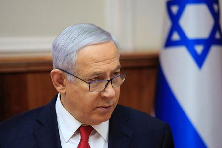 Israeli Prime Minister Benjamin Netanyahu speaks during the weekly cabinet meeting at the Prime Minister's office in Jerusalem