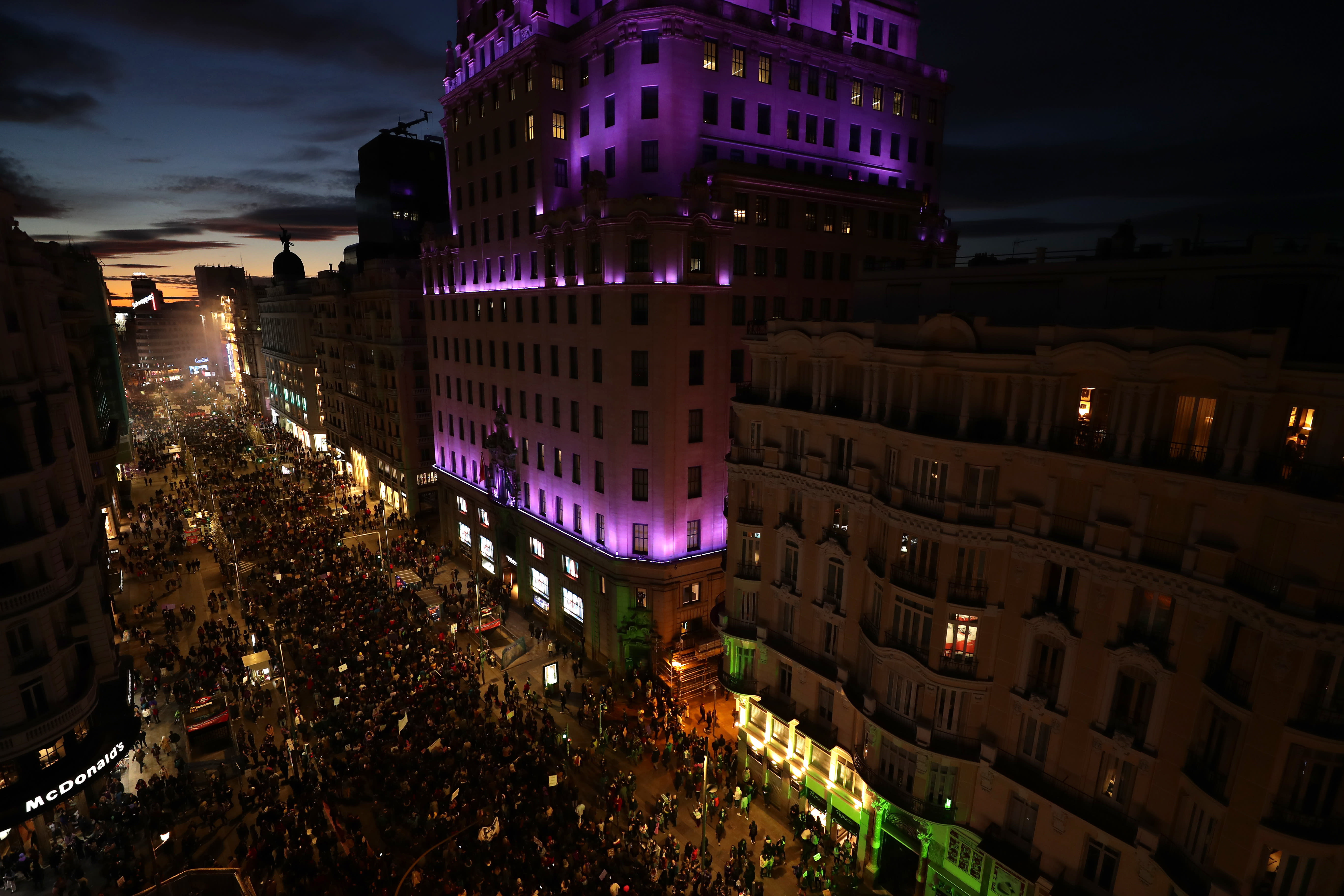 Participants gather for a rally to mark International Women's Day in Madrid, Spain, Sunday, March 8, 2020. Thousands of women are marching in Madrid and other Spanish cities as part of International Women's Day. (AP Photo/Manu Fernandez)
