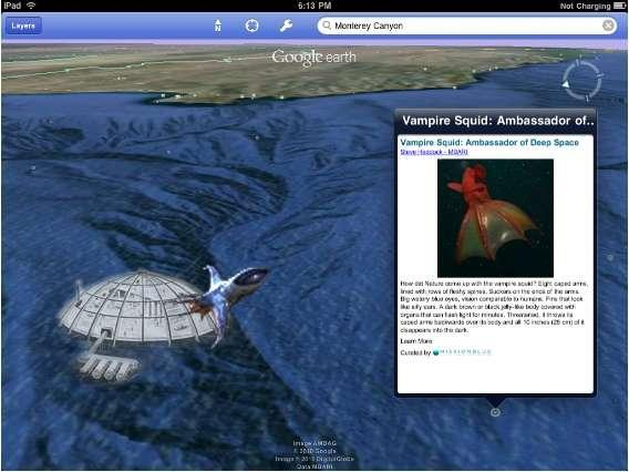 Google Earth 3.1 for iOS gets its ocean layer, Eric Schmidt's undersea base conspicuously absent