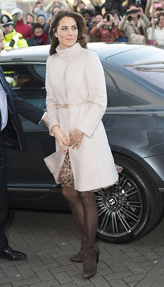 Kate wore this MaxMara Studio coat over a leopard-print dress for her and William's first visit to Cambridge.