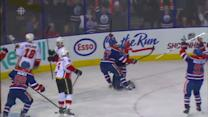 Taylor Hall ties it late from his knees