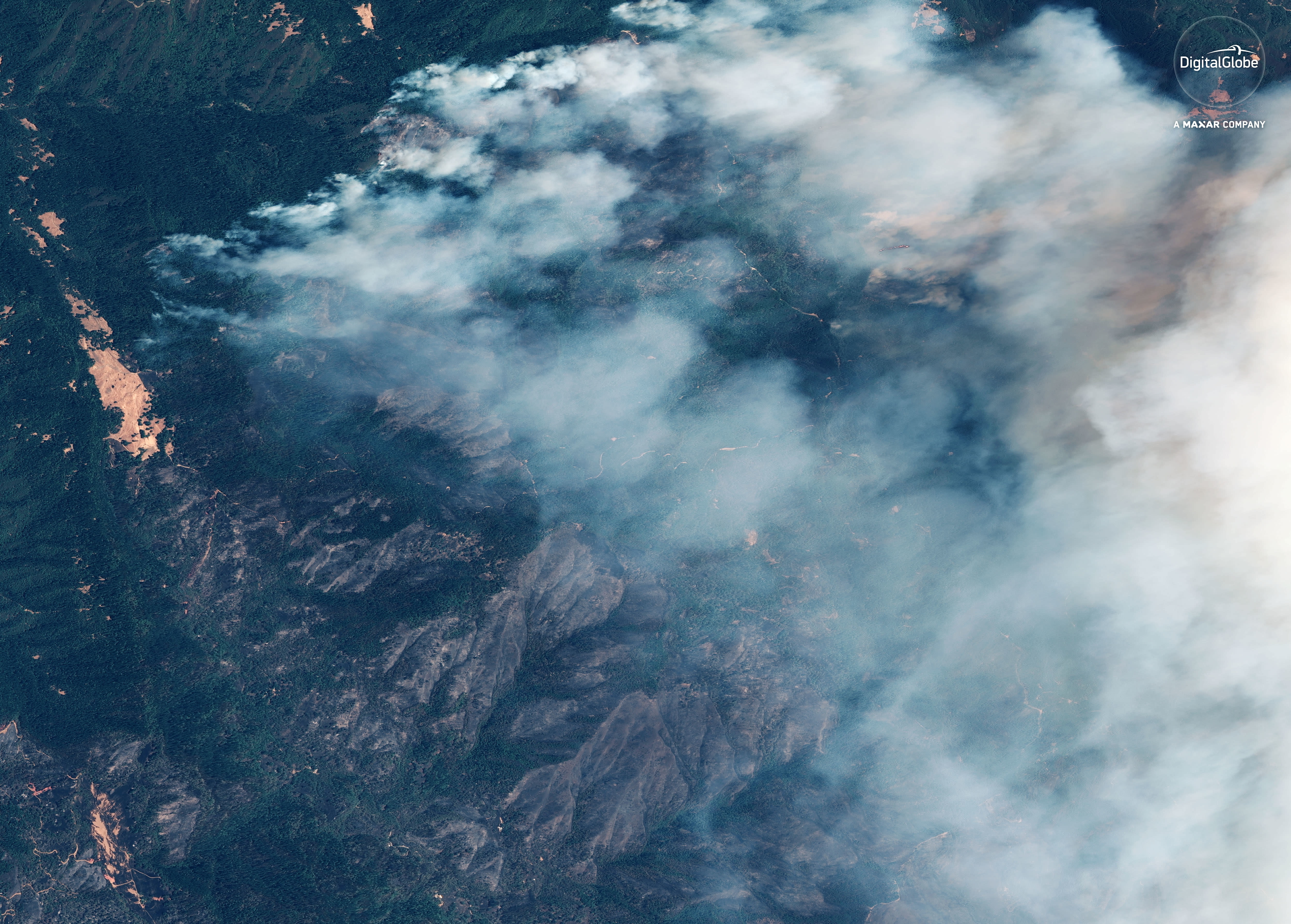 """This Monday, Aug. 6, 2018 satellite image provided by DigitalGlobe shows plumes of smoke from the """"Ranch Fire"""" north of Clear Lake, Calif. The dark brown areas show burned vegetation. (Satellite Image ©2018 DigitalGlobe, a Maxar company, via AP)"""