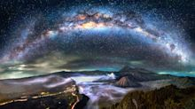 The Milky Way shines down on Mount Fuji