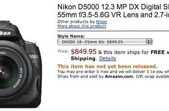 Nikon's D5000 up for pre-order at Amazon