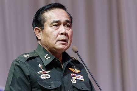 Thai Army chief General Prayuth Chan-ocha speaks at a meeting to discuss the 2015 national budget, in Bangkok