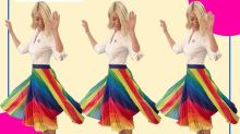 Holly Willoughby celebrates Pride Month by wearing this pleated rainbow skirt