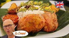 Nasi Lemak with Crispy Ayam Rendang