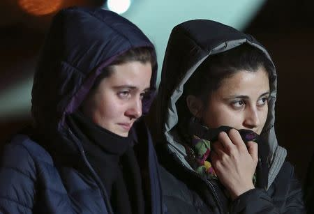Greta Ramelli and Vanessa Marzullo, two Italian aid workers taken hostage in Syria five months ago, arrive at Ciampino airport in Rome
