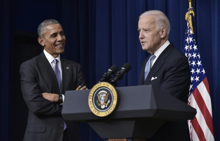 Former US president Barack Obama endorsed his vice president Joe Biden's 2020 White House bid (AFP Photo/MANDEL NGAN)