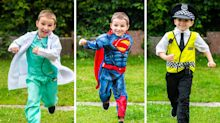 Six-year-old runs marathon for the NHS dressed as his favourite super-heroes including a doctor, fireman and policeman