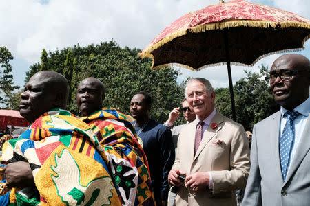 Britain's Prince Charles visits the Manhyia Palace of the Ashanti Kingdom to meet with the Ashanti king Otumfuo Osei Tutu II in Kumasi, Ghana November 4, 2018. REUTERS/Francis Kokoroko