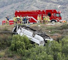 A charter bus swerved and rolled over on a California highway, killing 3 and injuring 18