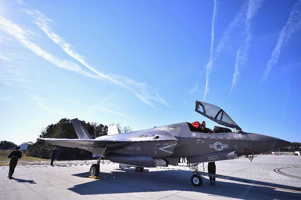 An F-35B Lightning II fifth generation multi role combat aircraft pictured at Marine Corps Air Station Beaufort (AFP Photo/Jeff J Mitchell)