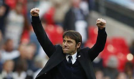 Chelsea manager Antonio Conte celebrates at full time