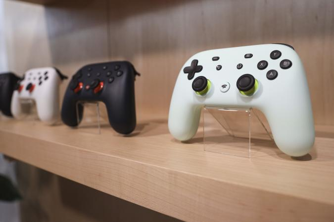 NEW YORK, NY - OCTOBER 15: The new Google Stadia gaming system controller is displayed during a Google launch event on October 15, 2019 in New York City. Google's Stadia game streaming service will launch on November 19th.  (Photo by Drew Angerer/Getty Images)