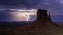 Stunning images capture the moment lightning strikes over Monument Valley