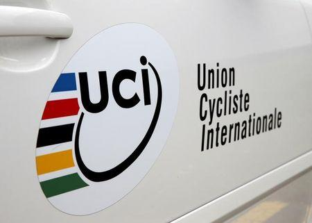 FILE PHOTO - A car is parked outside the World Cycling Center and headquarters of the International Cycling Union in Aigle