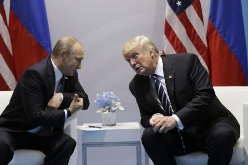 President Trump meets with Russian President Vladimir Putin at the G-20 Summit in Hamburg.