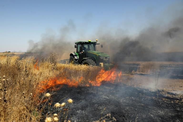 The incendiary balloons have caused huge damage to farmland on the Israeli side of the border (AFP Photo/MENAHEM KAHANA)