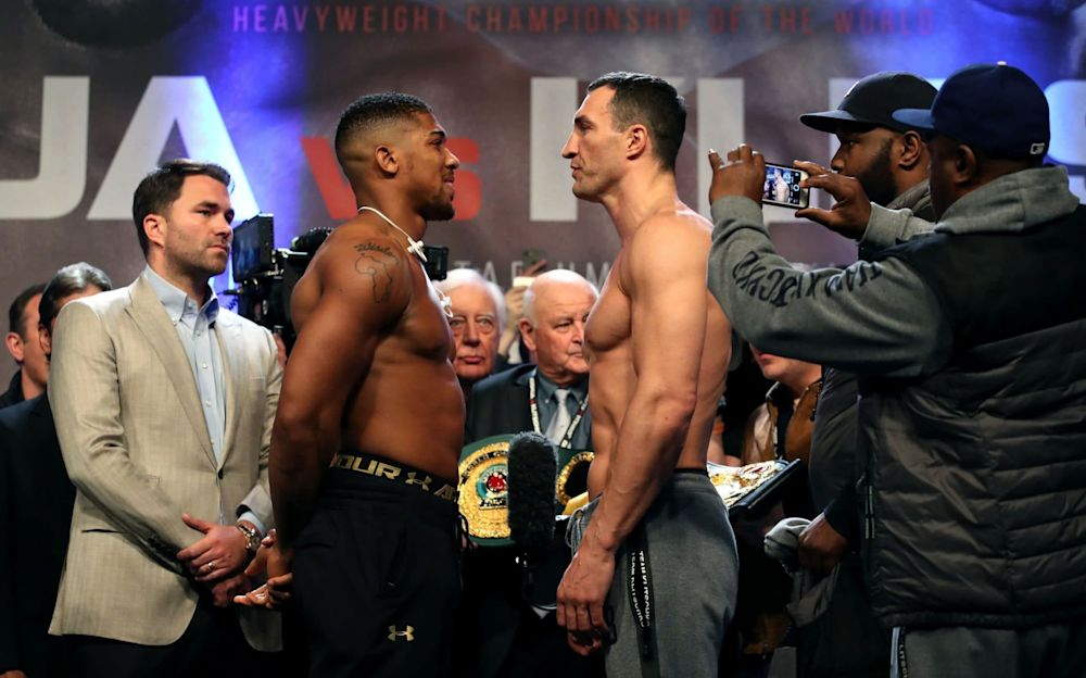 Anthony Joshua and Wladimir Klitschko will face off at Wembley tonight  - PA