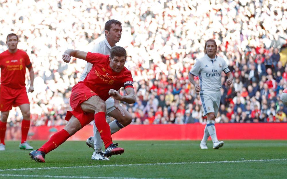 Steven Gerrard scores a goal - REUTERS