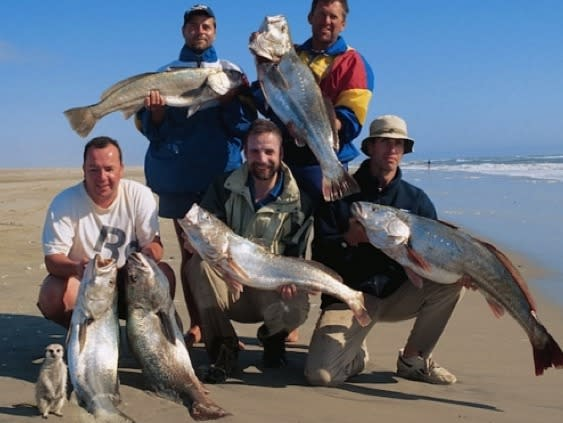 <p>This cheeky meerkat photobombed a group of fishermen's catch of the day picture in Namibia.<br /> </p>  <p></p>