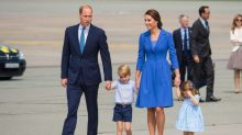 Duchess of Cambridge goes for blue as the royal family leave Poland for Germany
