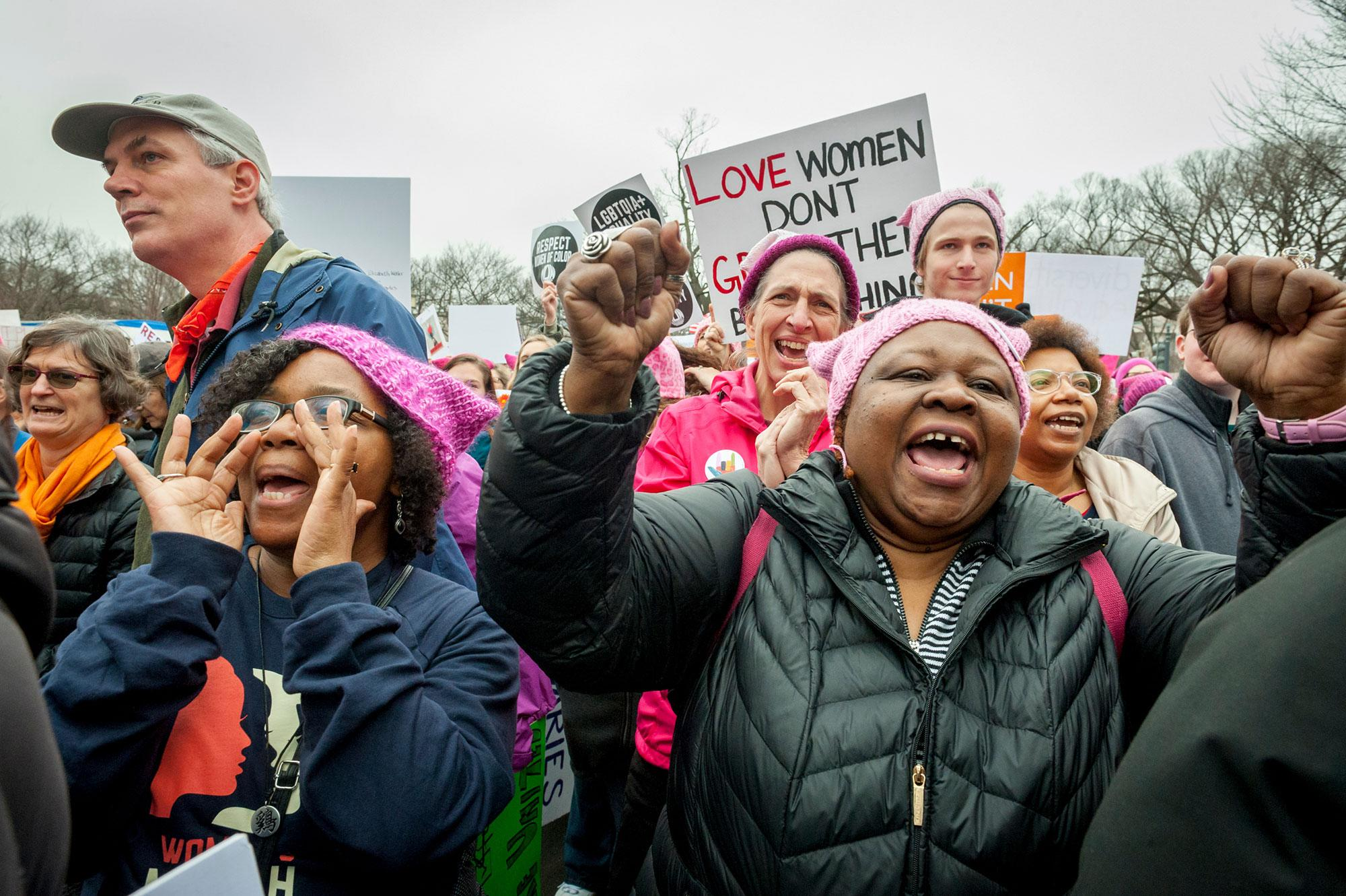 <p>Barbara Cooper and Cynthia Butler, VA., attended the march. Thousands of demonstrators gather in the Nation's Capital for the Women's March on Washington to protest the policies of President Donald Trump. January 21, 2017. (Photo: Mary F. Calvert for Yahoo News) </p>