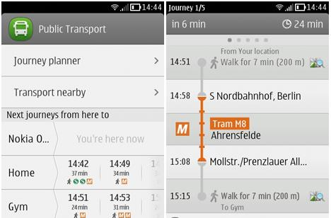 Nokia Public Transport for Symbian shows you the way, can't guarantee a seat