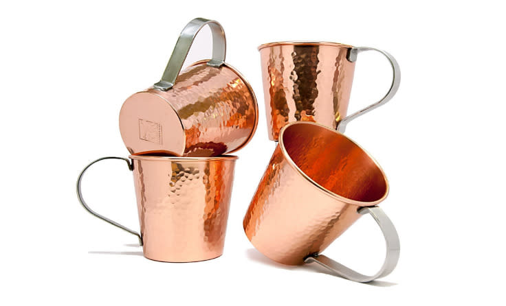 "<span id=""docs-internal-guid-e7e6693b-0cba-3df9-a5f0-5714ff2cd73a""><a href=""https://www.amazon.com/Coppertisan-Luxe-Moscow-Mule-Copper/dp/B013TDUFN6/ref=sr_1_2?s=kitchen&ie=UTF8&qid=1464794429&sr=1-2-spons&keywords=moscow+mule+copper+mugs&psc=1"" target=""_blank"">Moscow Mule copper cups (set of 4),</a></span> $39.99 on Amazon"